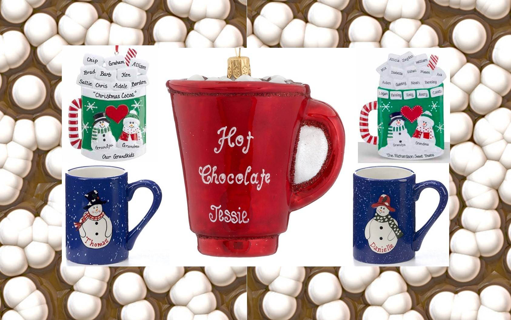 Hot Chocolate Christmas Ornaments