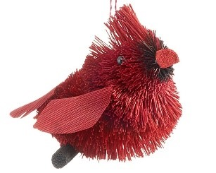 An ornament of a red cardinal bird made from natural materials. | OrnamentShop.com