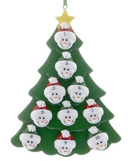 An ornament of a Christmas tree with 10 faces that can have names personalized on them. | OrnamentShop.com