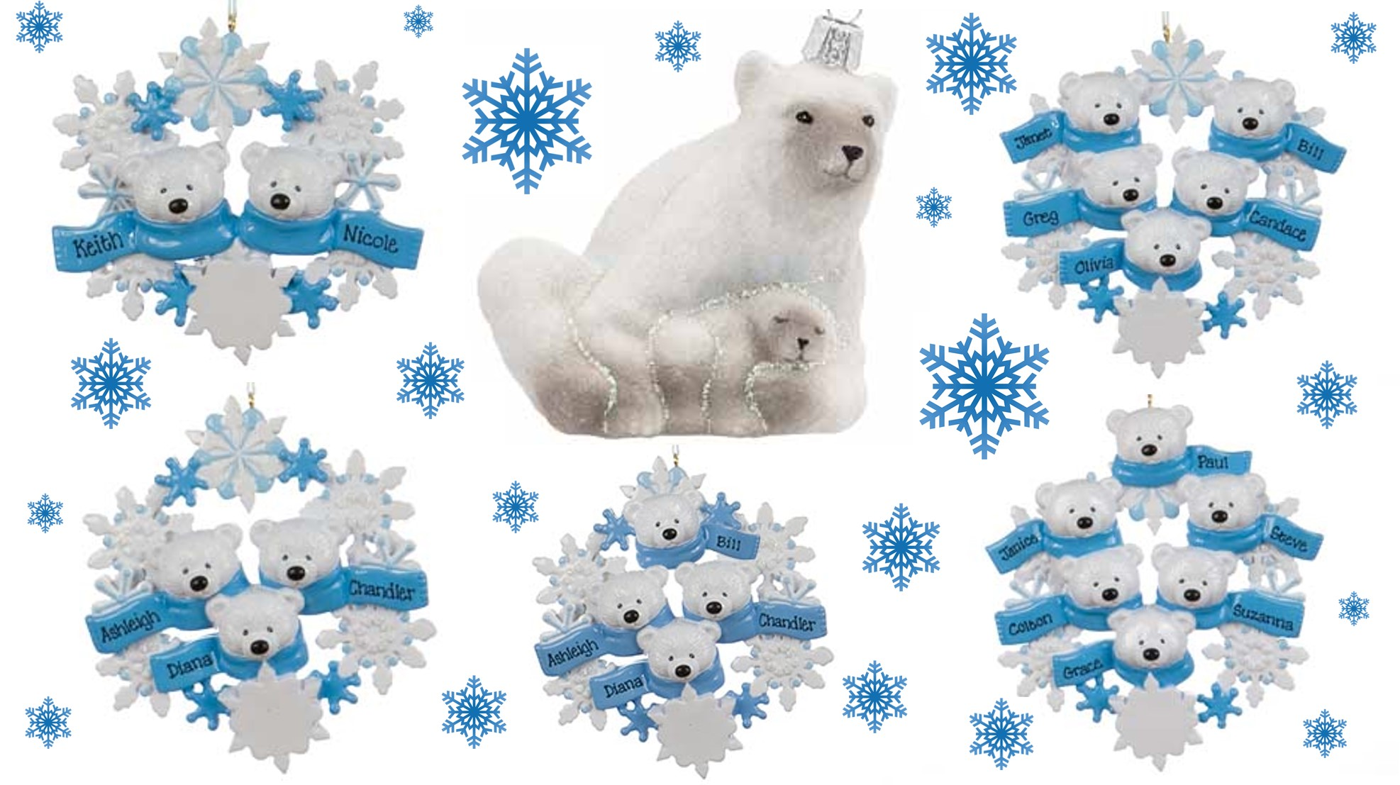 Polar Bear Ornaments that can be found to represent families. | OrnamentShop.com