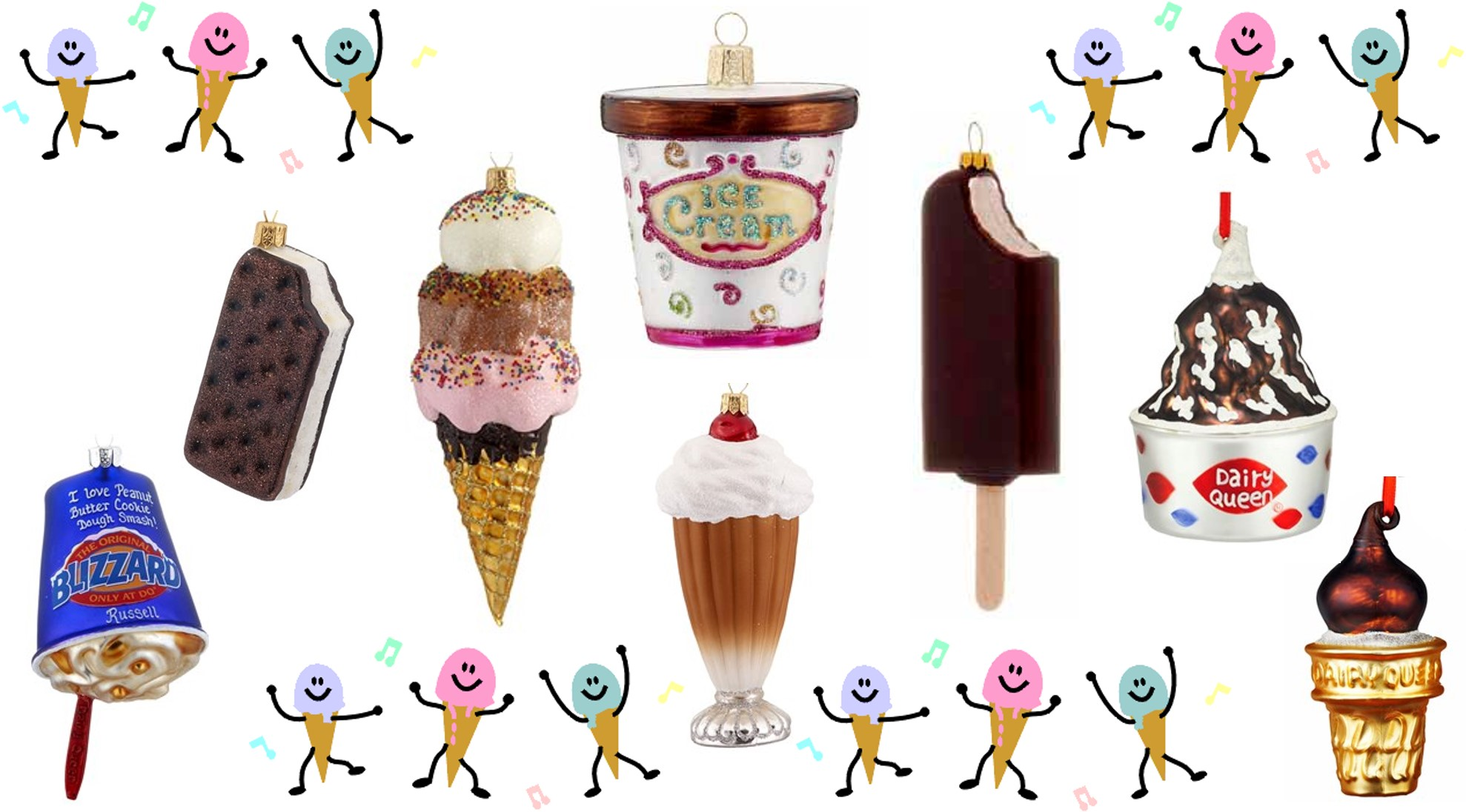 Ice Cream Ornaments available at OrnamentShop.com including a tub of ice cream, a chocolate ice cream bar, and a Blizzard from Dairy Queen. | OrnamentShop.com