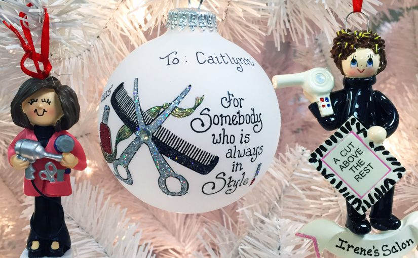 Hairdresser ornaments arranged on white Christmas tree | OrnamentShop.com