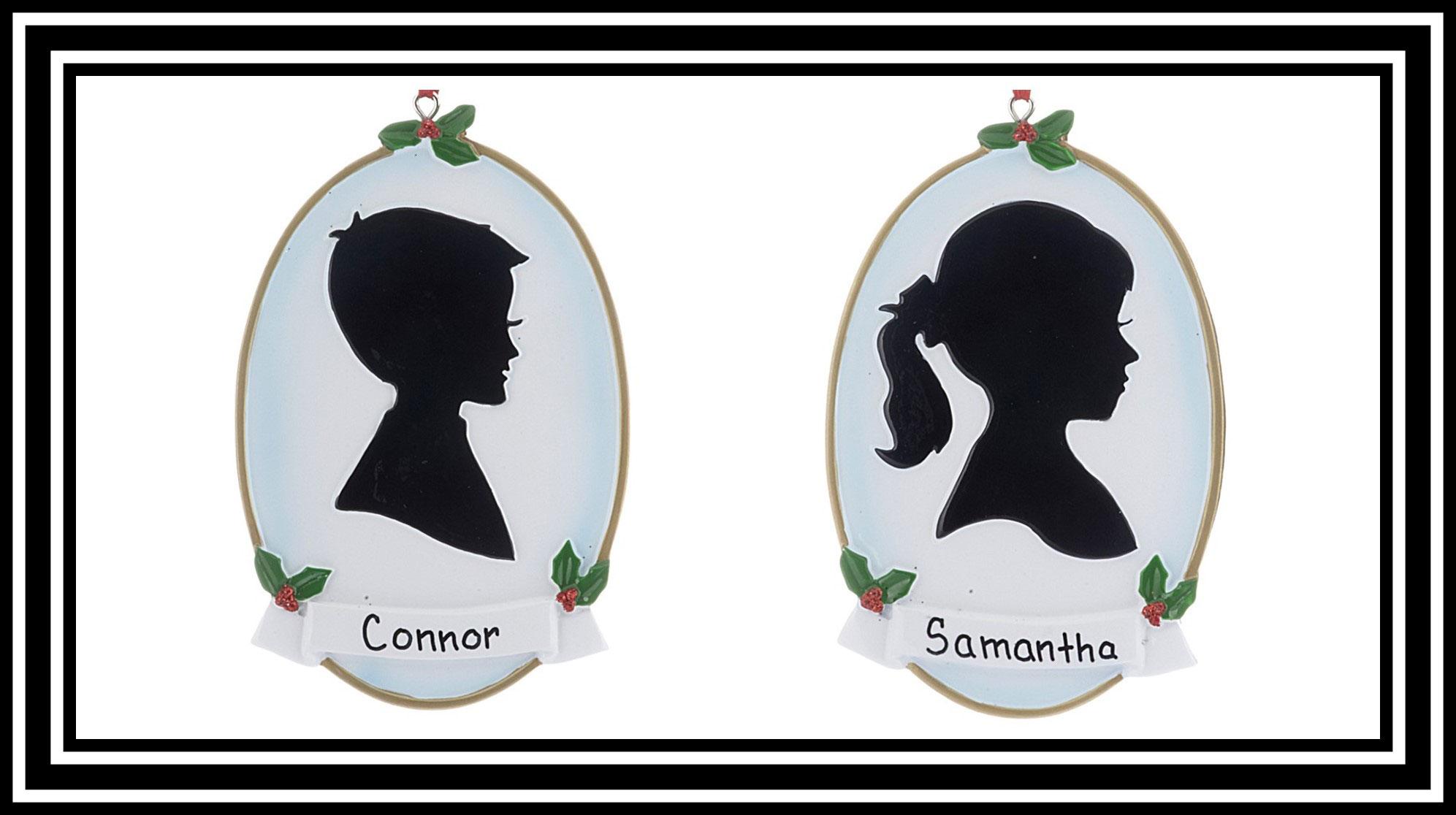 OrnamentShop.com personalized Boy and Girl silhouette ornaments. | OrnamentShop.com