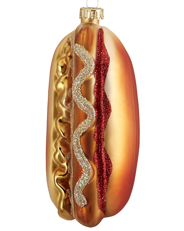 The perfect Christmas ornament for dad, a hot dog to represent his favorite food. | OrnamentShop.com