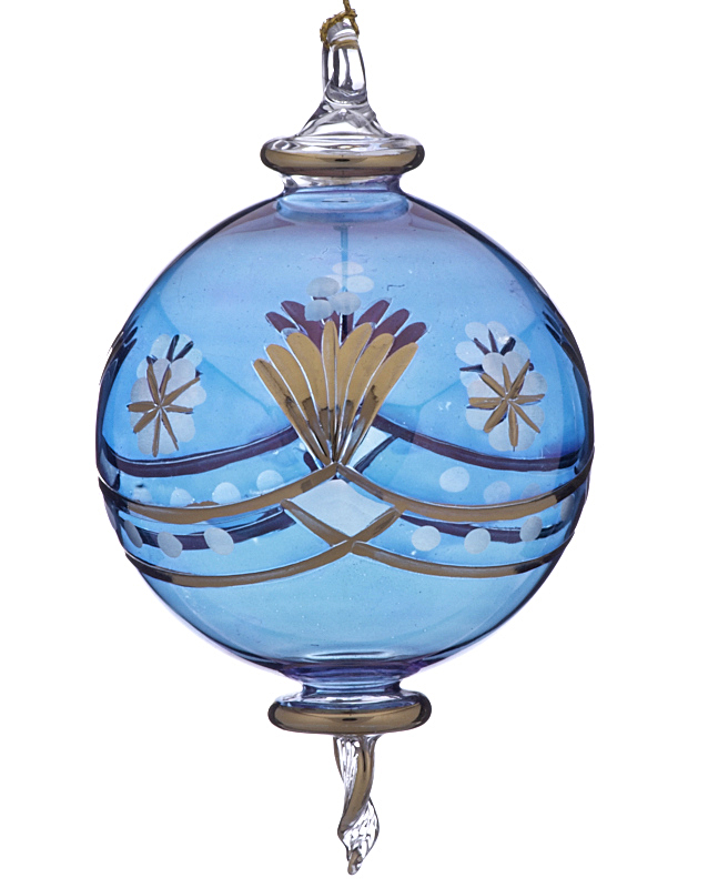 The perfect Christmas ornament for mom, a blue glass sphere for the Christmas tree. | OrnamentShop.com