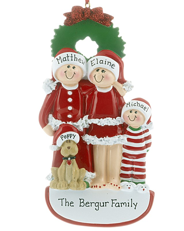 The perfect ornament for a family, find family ornaments of three with mom, dad, child and a dog. | OrnamentShop.com