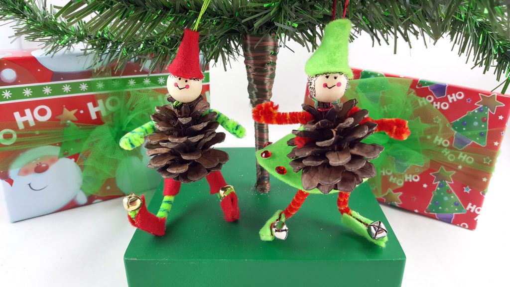 Pine Cone Boy and Girl Elf Ornaments