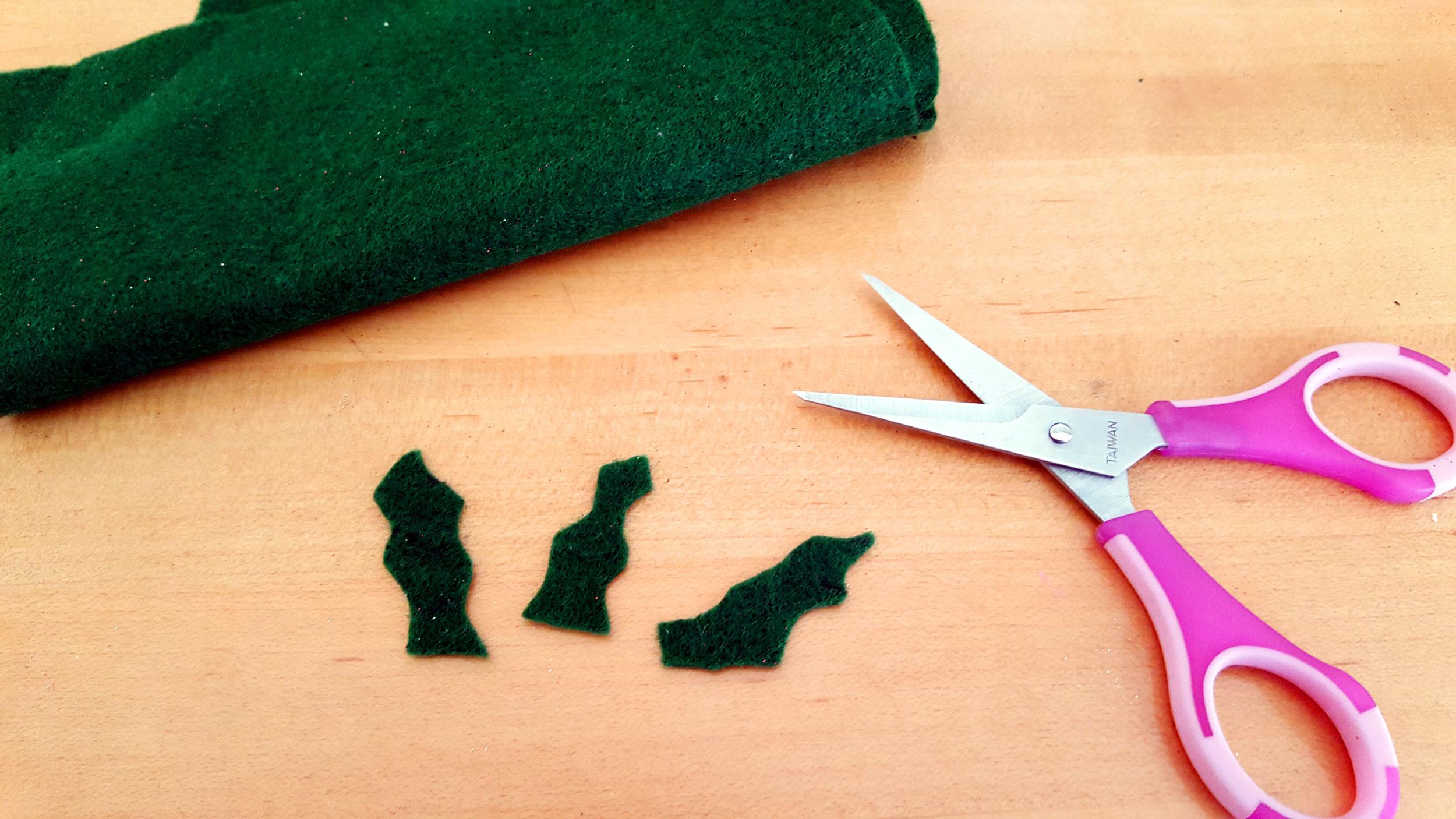 Initial Ornaments Step 3 cut felt holly leaves. | OrnamentShop.com