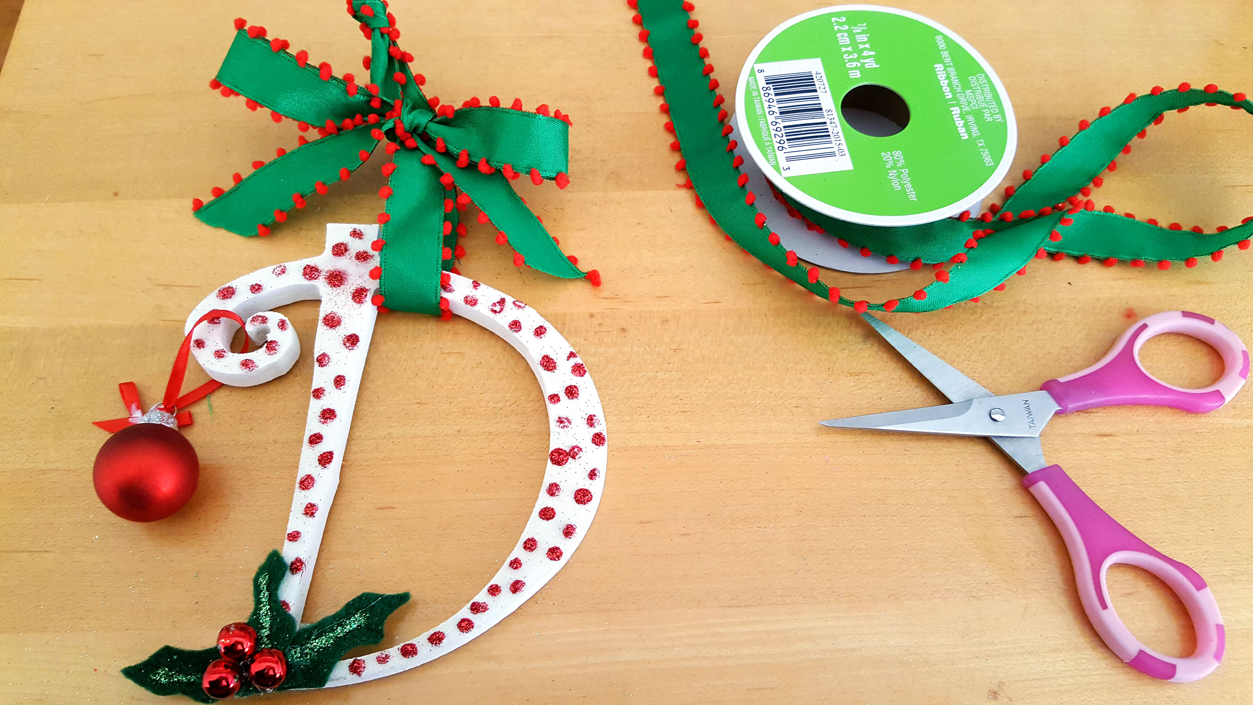 Initial Ornaments Step 9 add ribbon for hanging initial letter. | OrnamentShop.com