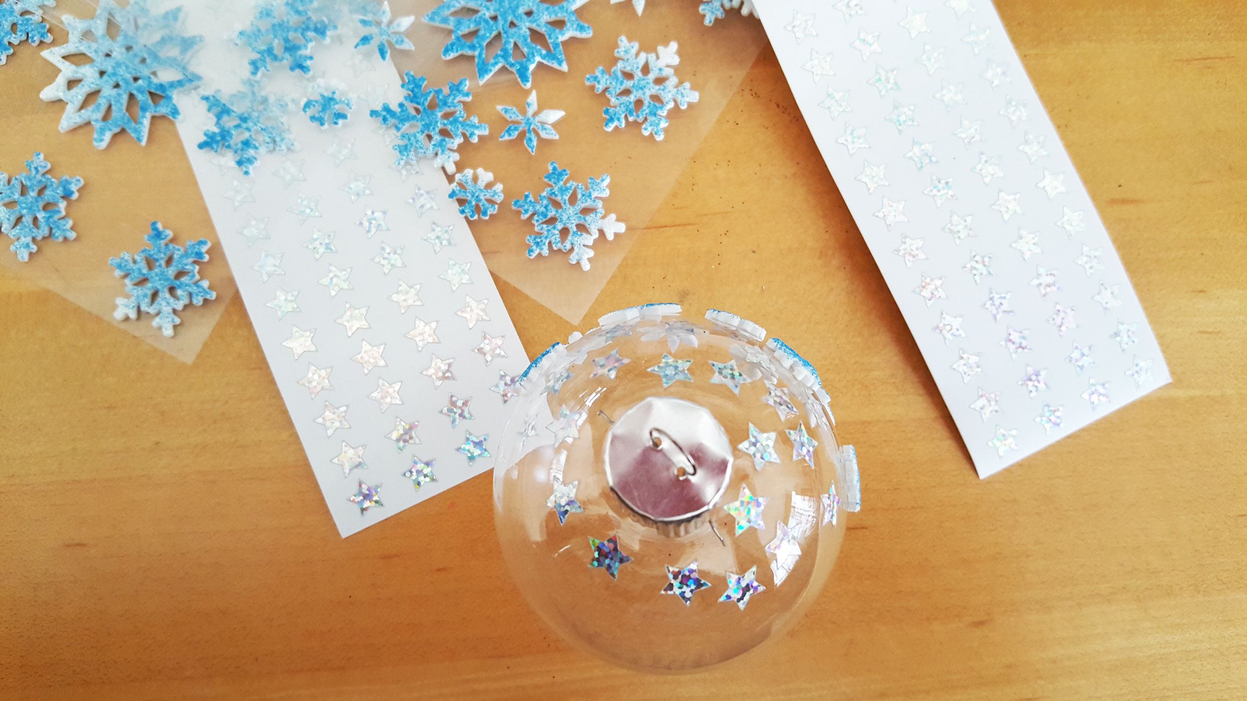 Silent Night Ornament Step 1 add stickers to outside of ornament. | OrnamentShop.com