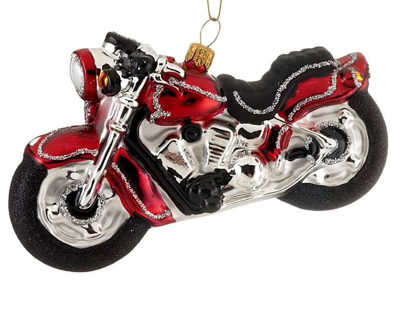 The perfect Christmas ornament for dad, a red motorcycle to represent his favorite hobby. | OrnamentShop.com