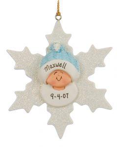 Baby Boy on Snowflake Christmas Ornament   OrnamentShop.com