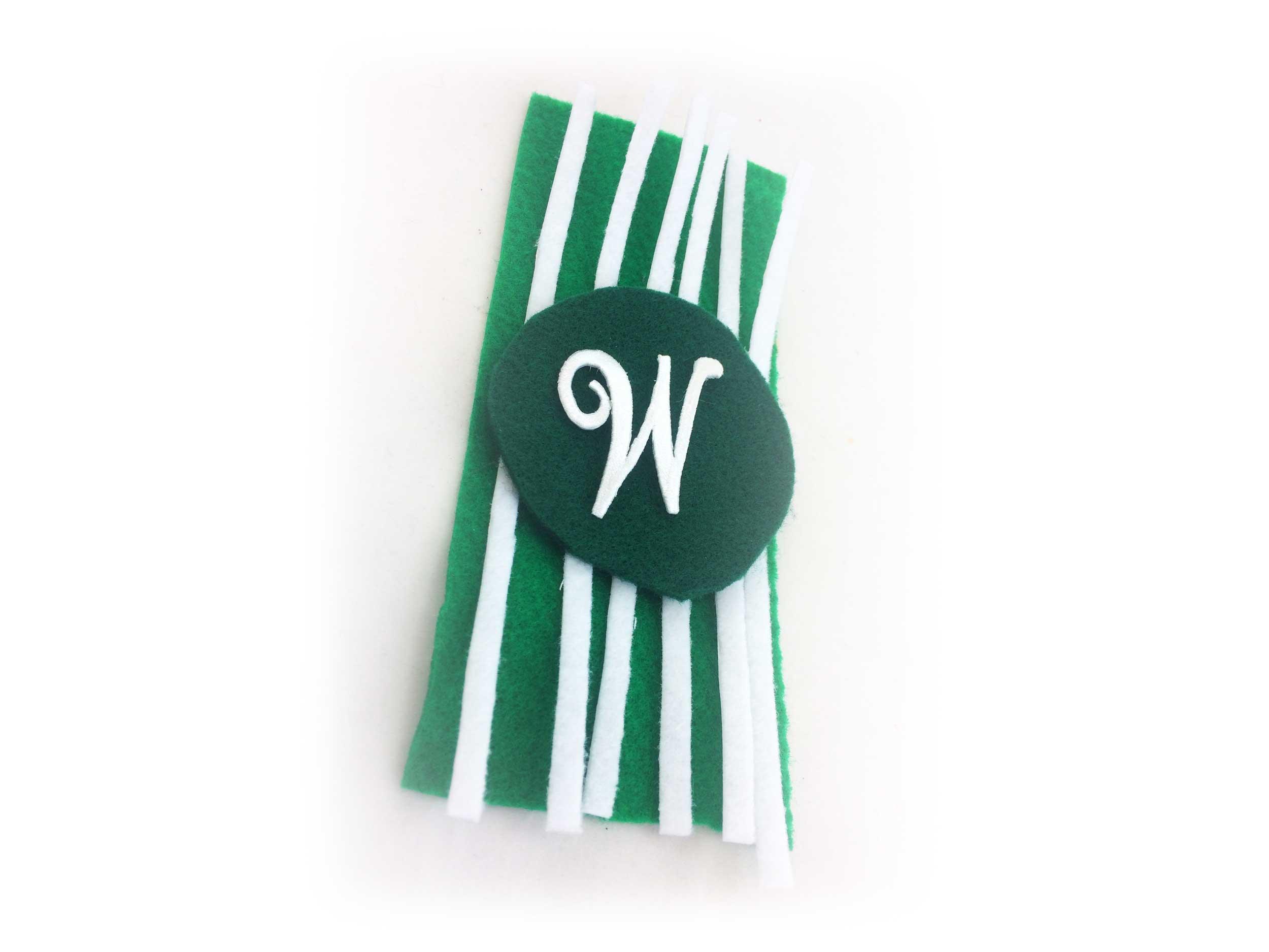 "Beach towel felt ornament with ""W"" monogram. | OrnamentShop.com"