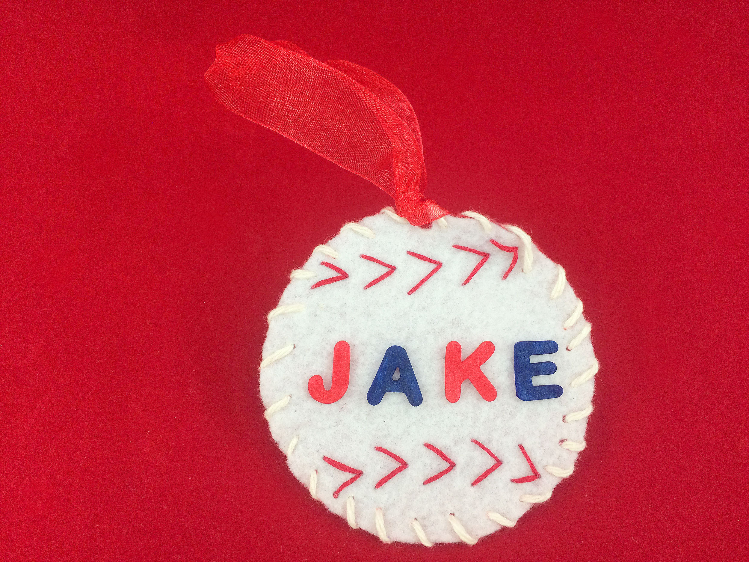 Completed felt Baseball Ornament with foam letters. | OrnamentShop.com