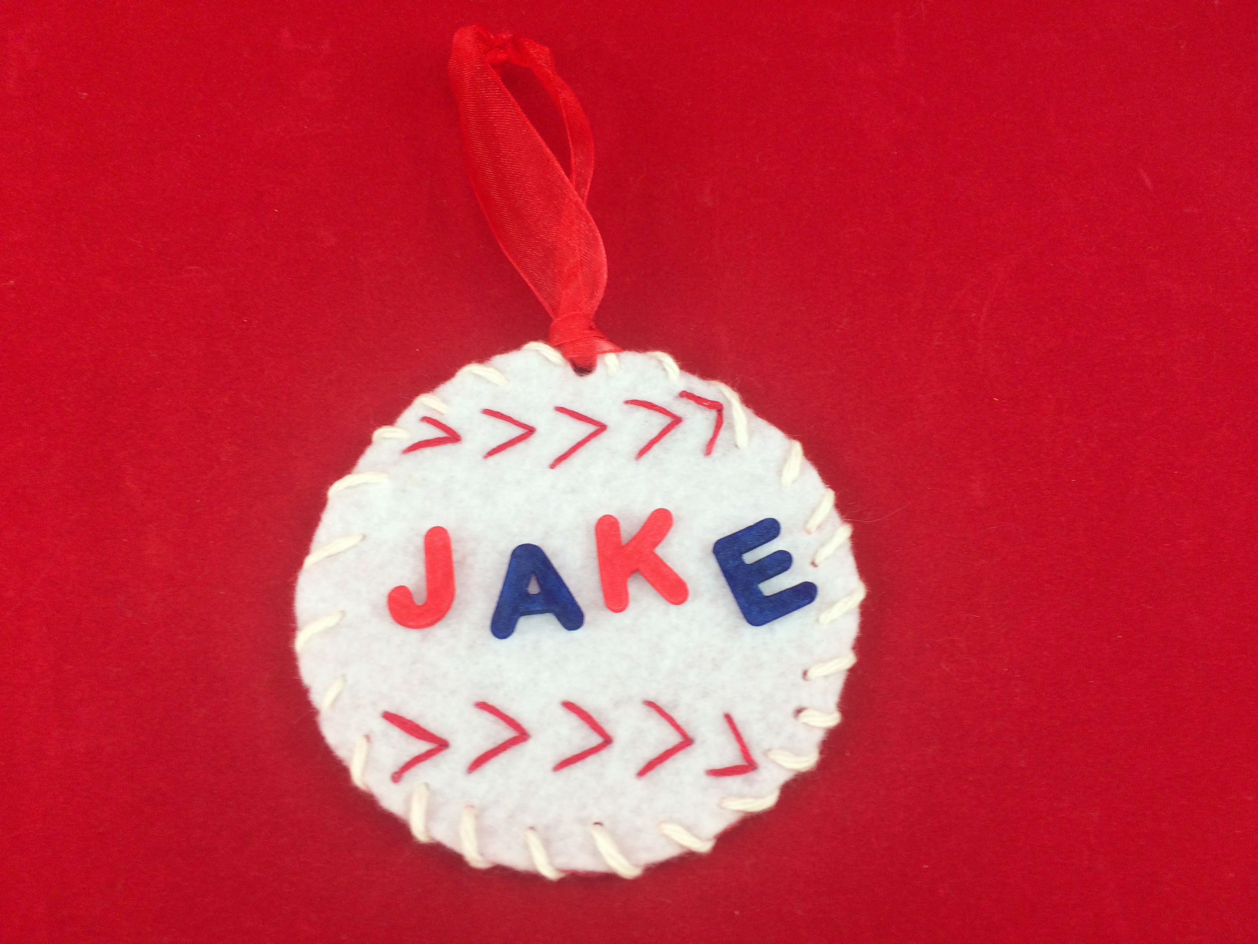 Attached foam letters to personalize completed Baseball ornament. | OrnamentShop.com