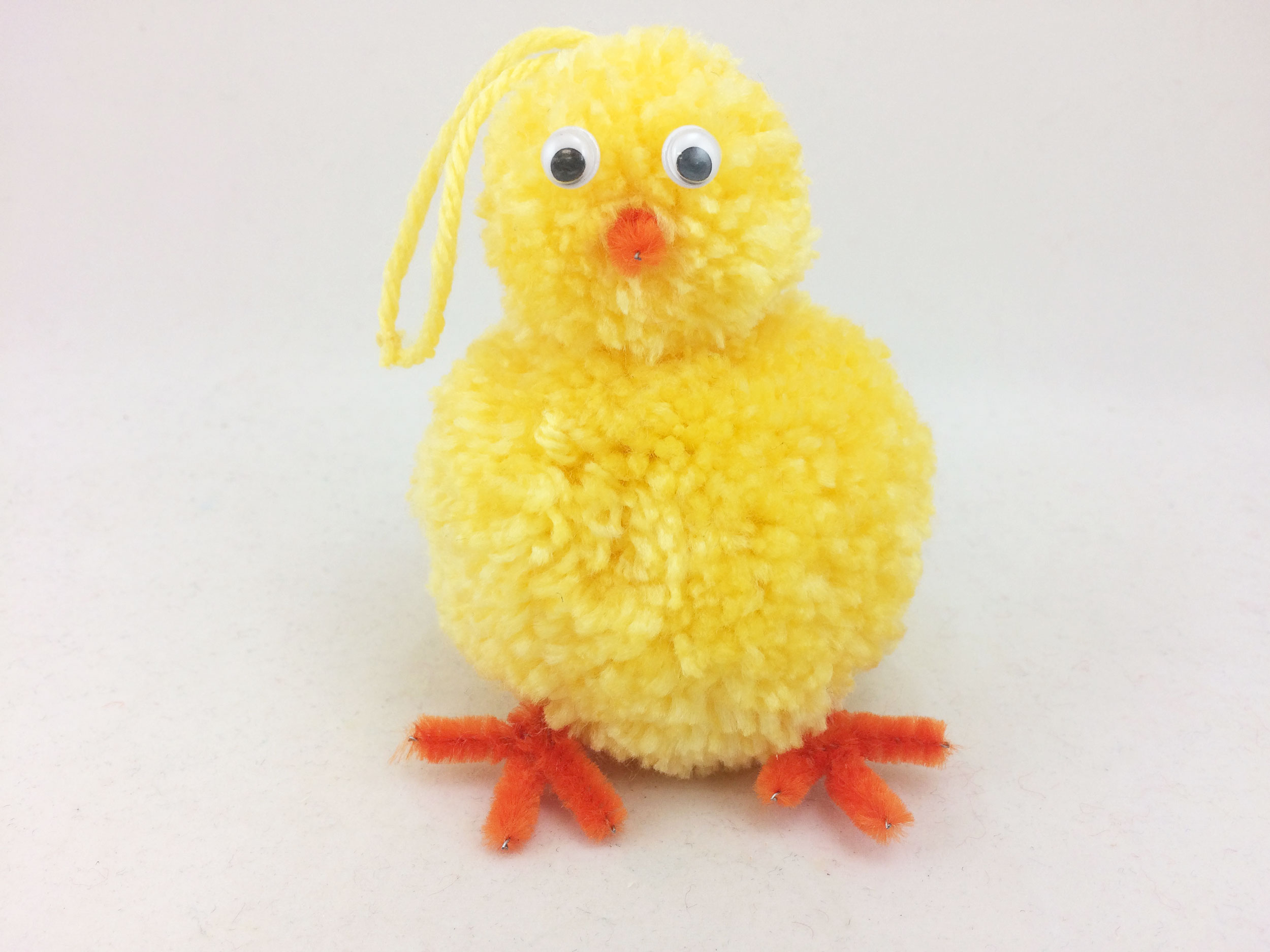 Completed DIY Easter Chick decoration with ornament loop. | OrnamentShop.com