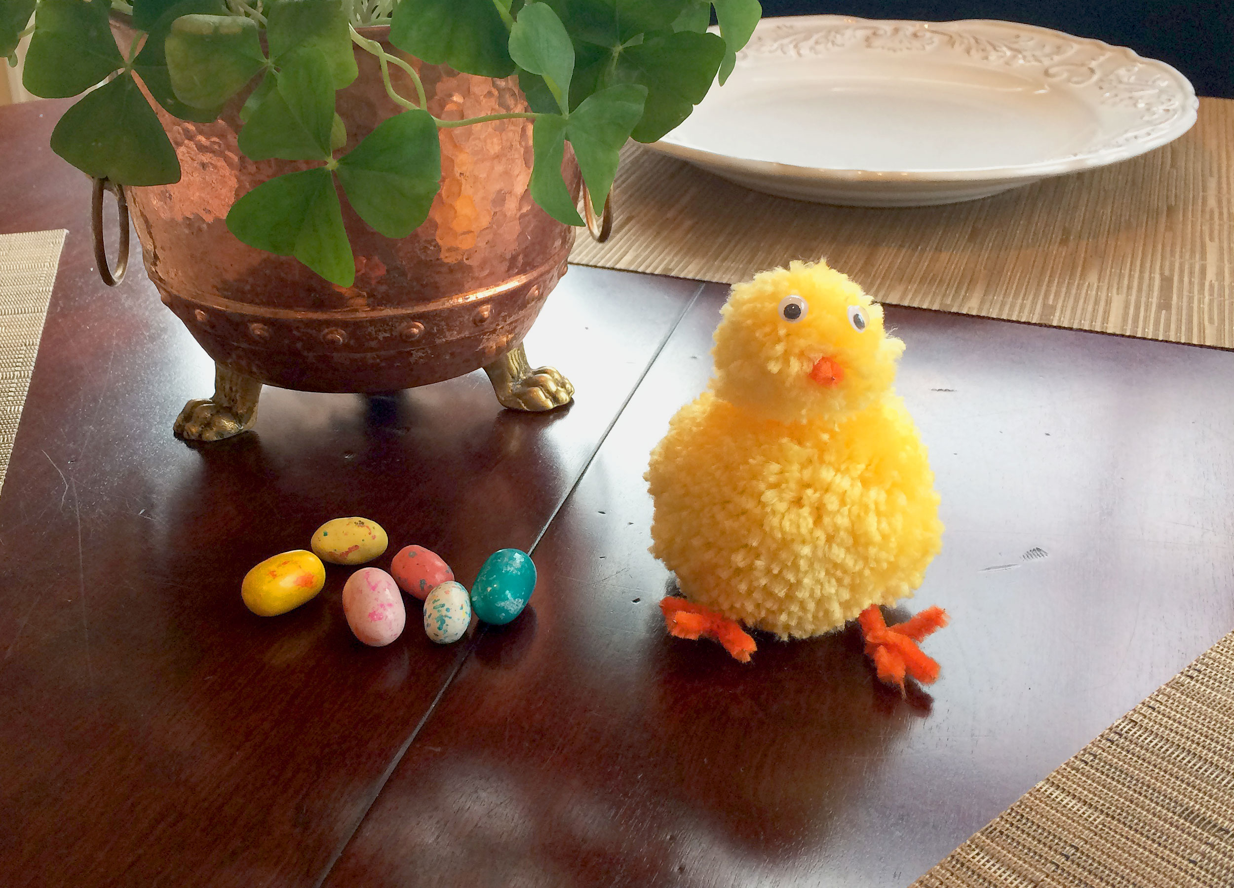 DIY Easter Chick decoration displayed as center piece on kitchen table. | OrnamentShop.com