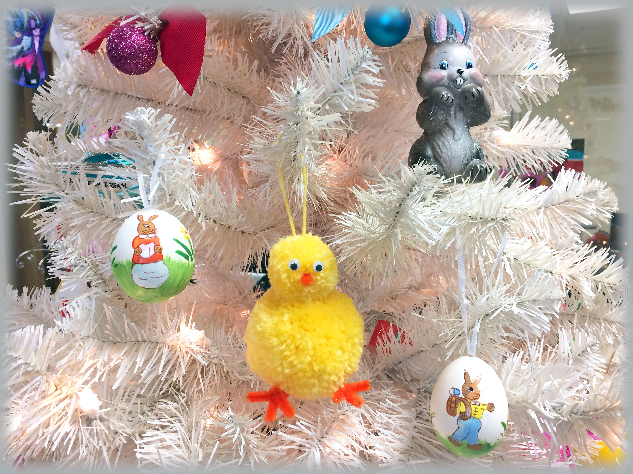 DIY Easter Chick ornament hanging on tree. | OrnamentShop.com