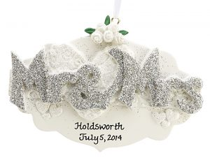 An ornament with Mr. & Mrs. for newlyweds and married couples to hang on the Christmas tree. | OrnamentShop.com