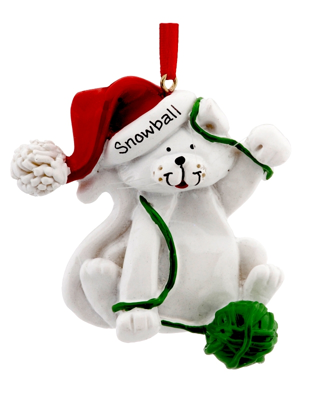 White cat with a ball of yarn personalized Christmas ornament. | OrnamentShop.com