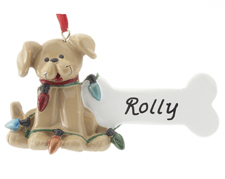 Tan Dog with Lights for dog's first Christmas ornament. | OrnamentShop.com