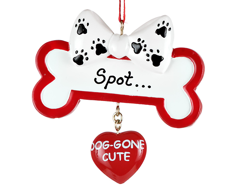 Personalized dog Christmas ornament with a bone and heart bell. | OrnamentShop.com