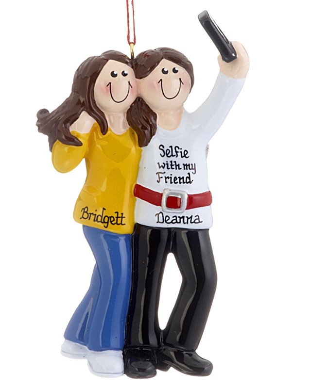 Two brunet girls take a selfie together on an ornament. | OrnamentShop.com