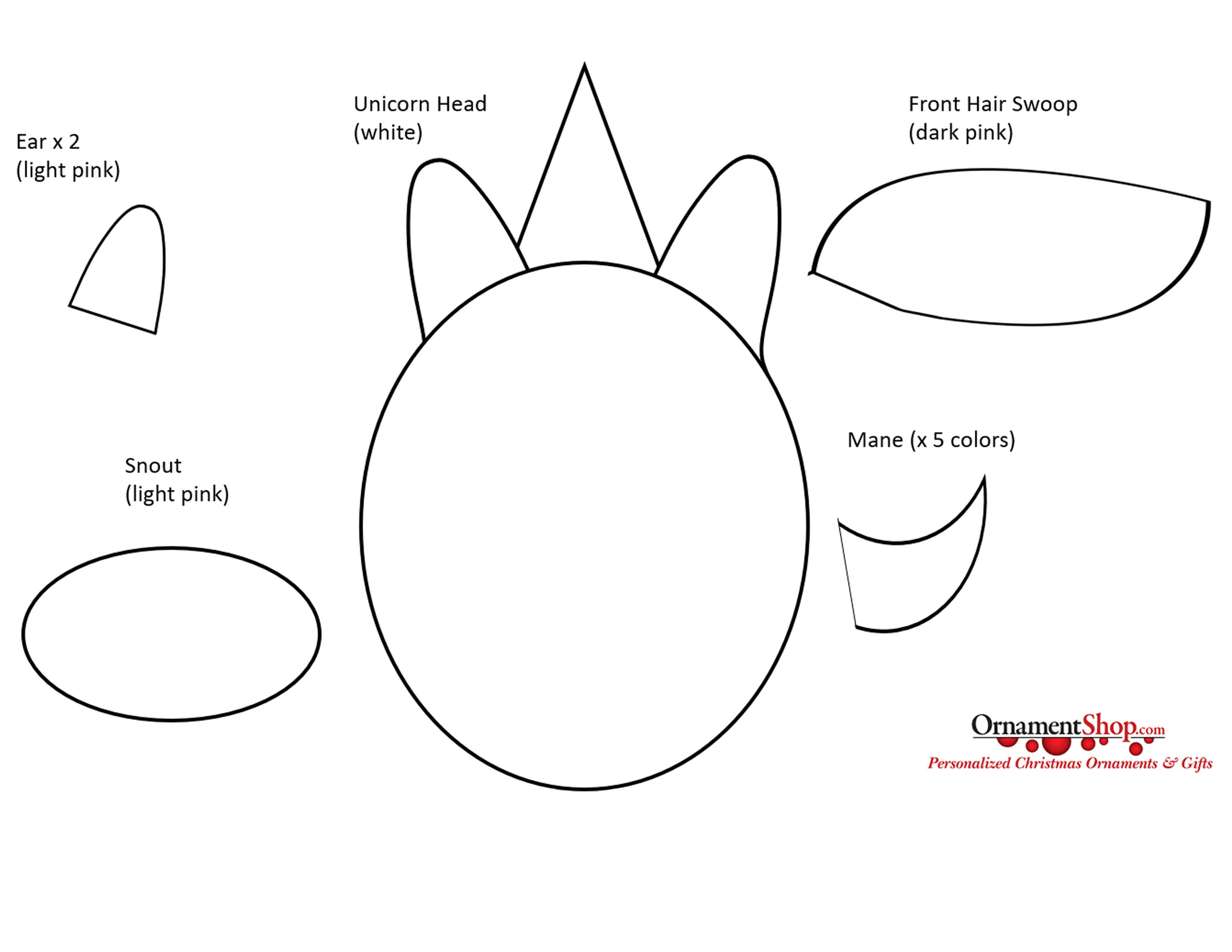 Unicorn ornament template - cut out these shapes | Ornament Shop