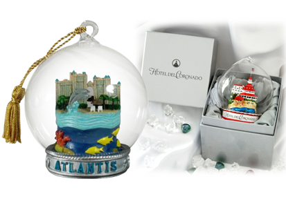 Personalized ornaments for businesses with glass balls and your own custom inside object. | OrnamentShop.com