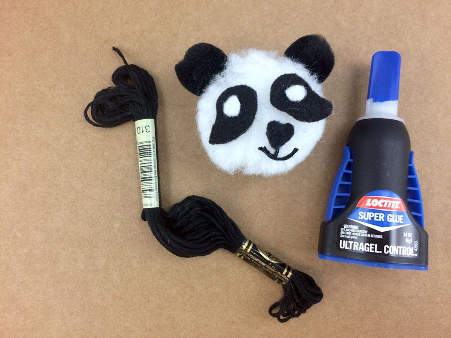 Glue Panda Ornament mouth from embroidery thread | OrnamentShop.com