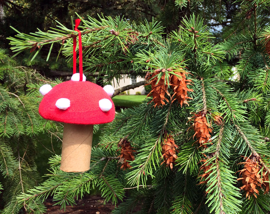 DIY Toadstool Ornament hanging from tree | OrnamentShop.com