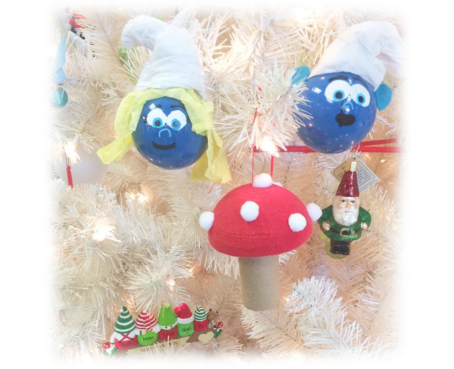 DIY Toadstool & Smurf Ornaments on tree | OrnamentShop.com