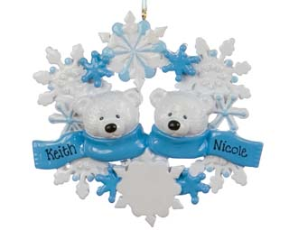 A snowflake ornament with two polar bears to be personalized with names | Ornament Shop