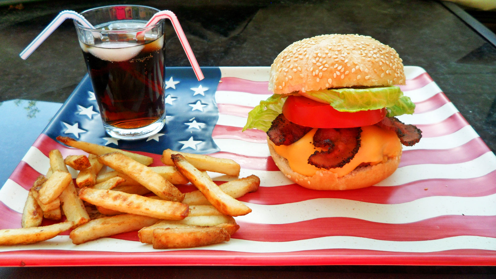 American Hamburger on a plate