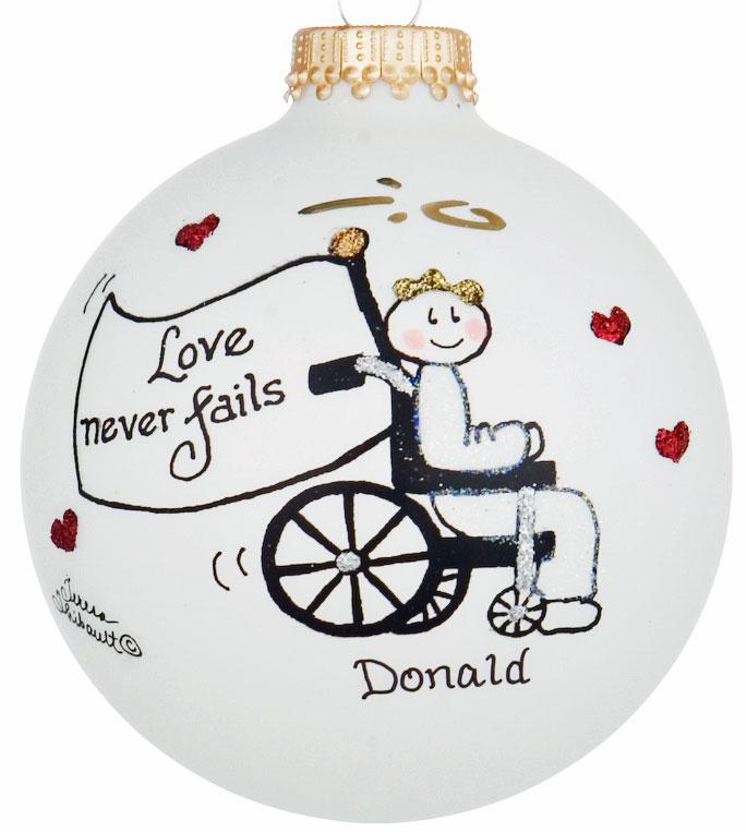 glass ball ornaments wheelchair ornament