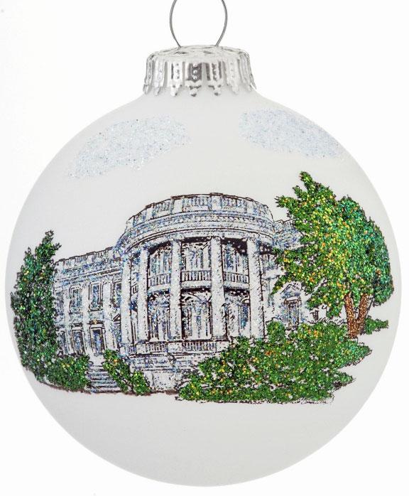 glass ball ornaments - white house ornament